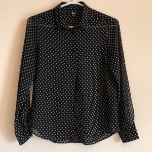 Uniqlo | Polka Dots Button Down Sheer Shirt